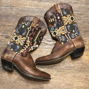Shoes - Tapestry Cowboy Boots. Size 7.5.